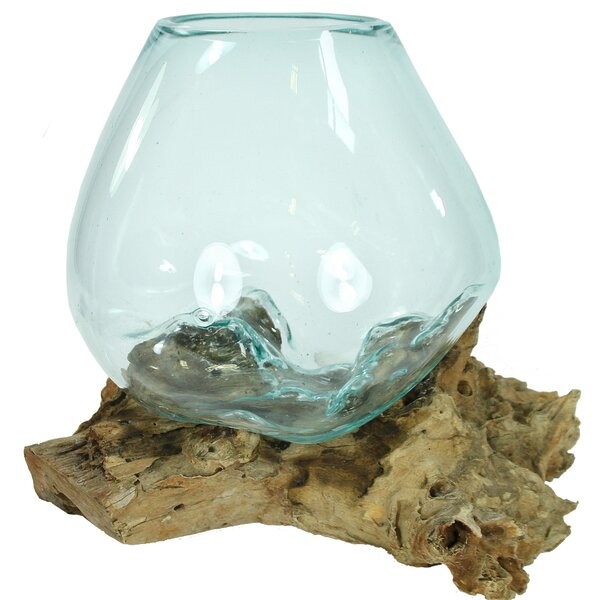 Odysseus Hand Blown Molten Glass and Wood Root Sculpture by Loon Peak