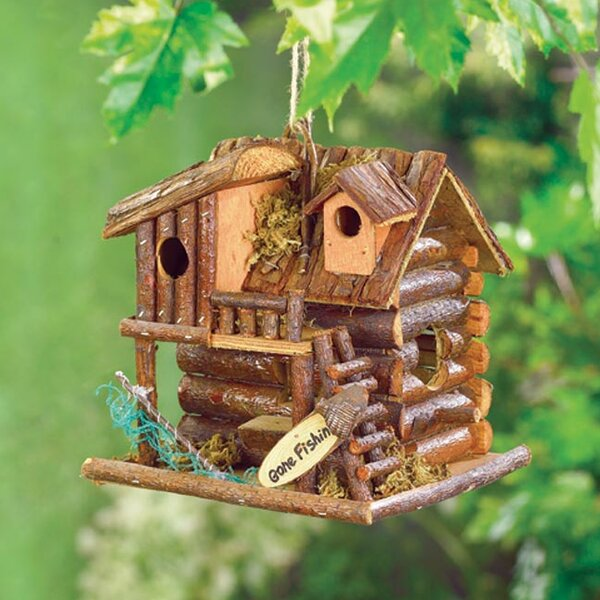 Fishing Cabin 8.5 in x 8 in x 7 in Birdhouse by Zingz & Thingz