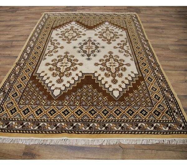 Sonali Traditional Moroccan Oriental Hand-Knotted Wool Beige/Brown Area Rug by Bloomsbury Market