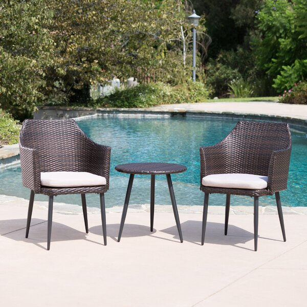 Brant 3 Piece Rattan Conversation Set with Cushions by George Oliver