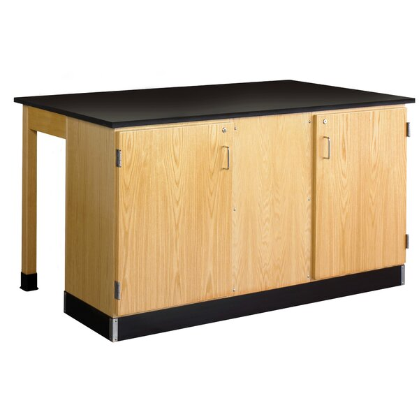 Labview 2 Student Workstation With Door Cabinet by Diversified Woodcrafts