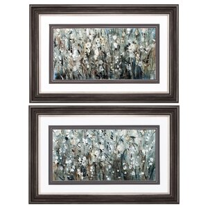Blooms Navy 2 Piece Framed Painting Print Set in White by Propac Images