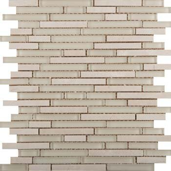 Lucente 12 x 13 Glass Stone Blend Linear Mosaic Tile in Campo by Emser Tile