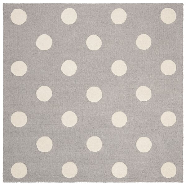 Claro Polka Dots Hand-Tufted Gray/Ivory Area Rug by Harriet Bee