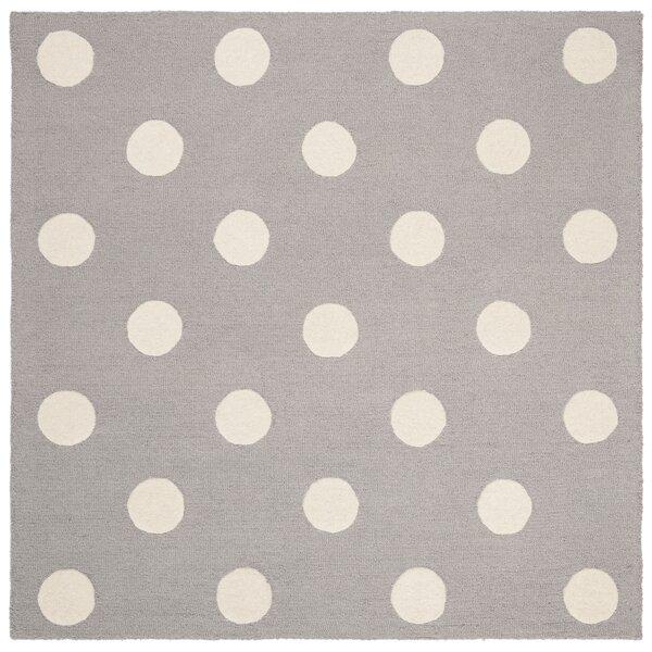 Claro Polka Dots Hand-Tufted Gray/Ivory Area Rug by Harriet Bee