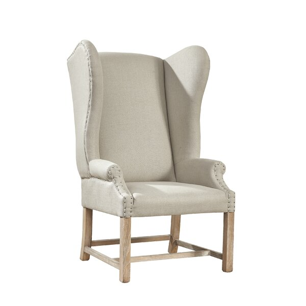 Kourtney Linen Wingback Chair by One Allium Way