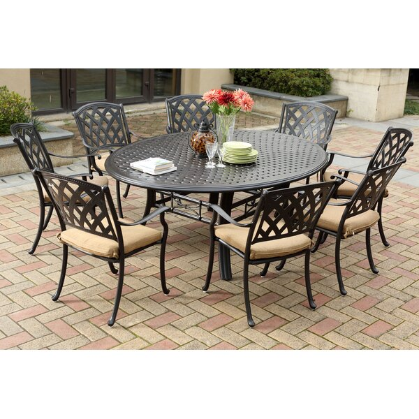 Campton 9 Piece Dining Set with Cushion by Fleur De Lis Living