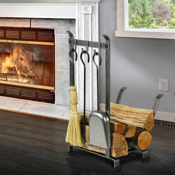 Handcrafted Fireplace Steel Log Carrier with Tool by Enclume