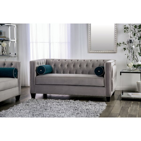 Highest Quality Fannie Tufted Loveseat by House of Hampton by House of Hampton