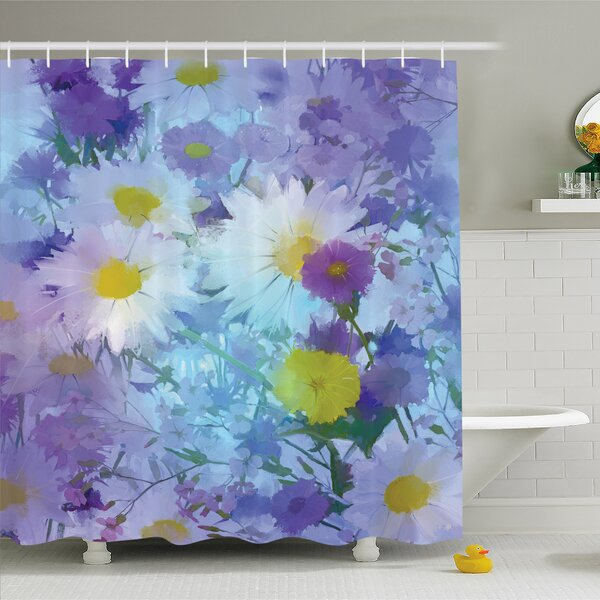 Watercolor Flower Home Vintage Flower in Pastel Color Fragrance Natural Bloom Beauty Print Shower Curtain Set by Ambesonne