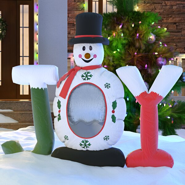 Christmas Inflatable Joy Snowman Snow Globe Decoration by The Holiday Aisle