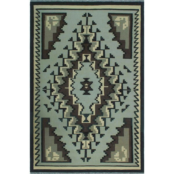 Hadley Hand-Knotted Wool Gray/Blue Area Rug by Foundry Select