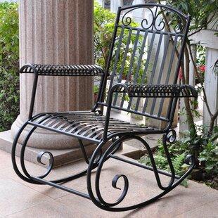 Snowberry Iron Outdoor Porch Rocking Chair Three Posts
