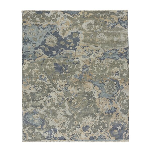 Leonia Hand-Knotted Wool Beige/Azure Area Rug by 17 Stories
