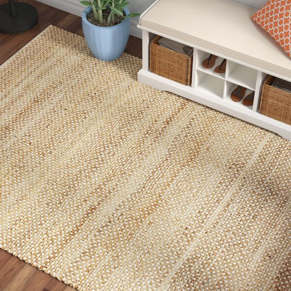 Hadriana Jute Hand-Woven Ash Area Rug by Beachcrest Home
