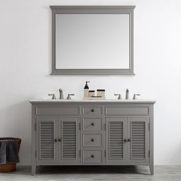 Grovetown 61 Double Bathroom Vanity Set with Mirror by Laurel Foundry Modern Farmhouse