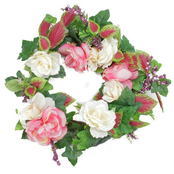 23 Decorative Rose Flowers and Berries Artificial Spring Floral Wreath by Darice