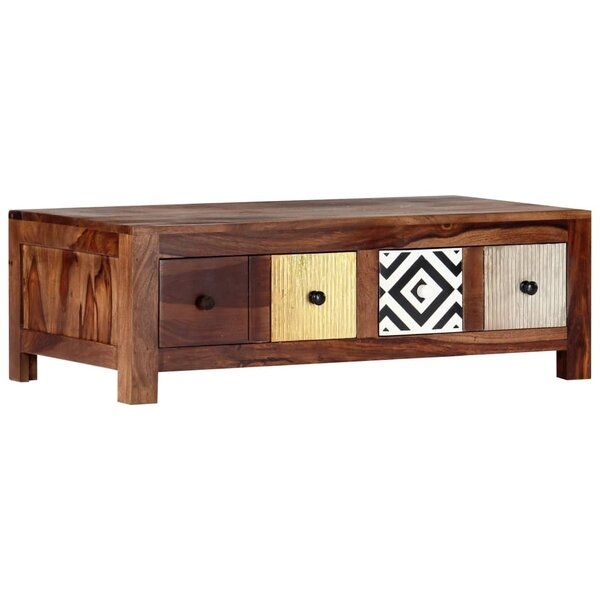Rebecka Solid Wood 4 Legs Coffee Table with Storage by Millwood Pines Millwood Pines