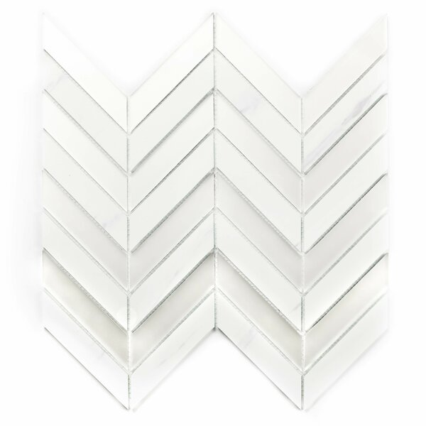Musico Herringbone 1.4 x 3.25 Glass Mosaic Tile in White by Abolos