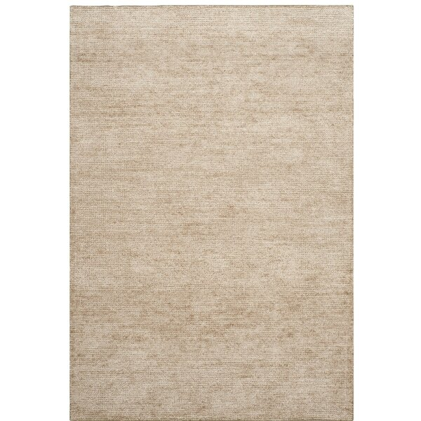 McArthur Hand-Knotted Beige Area Rug by Rosecliff Heights