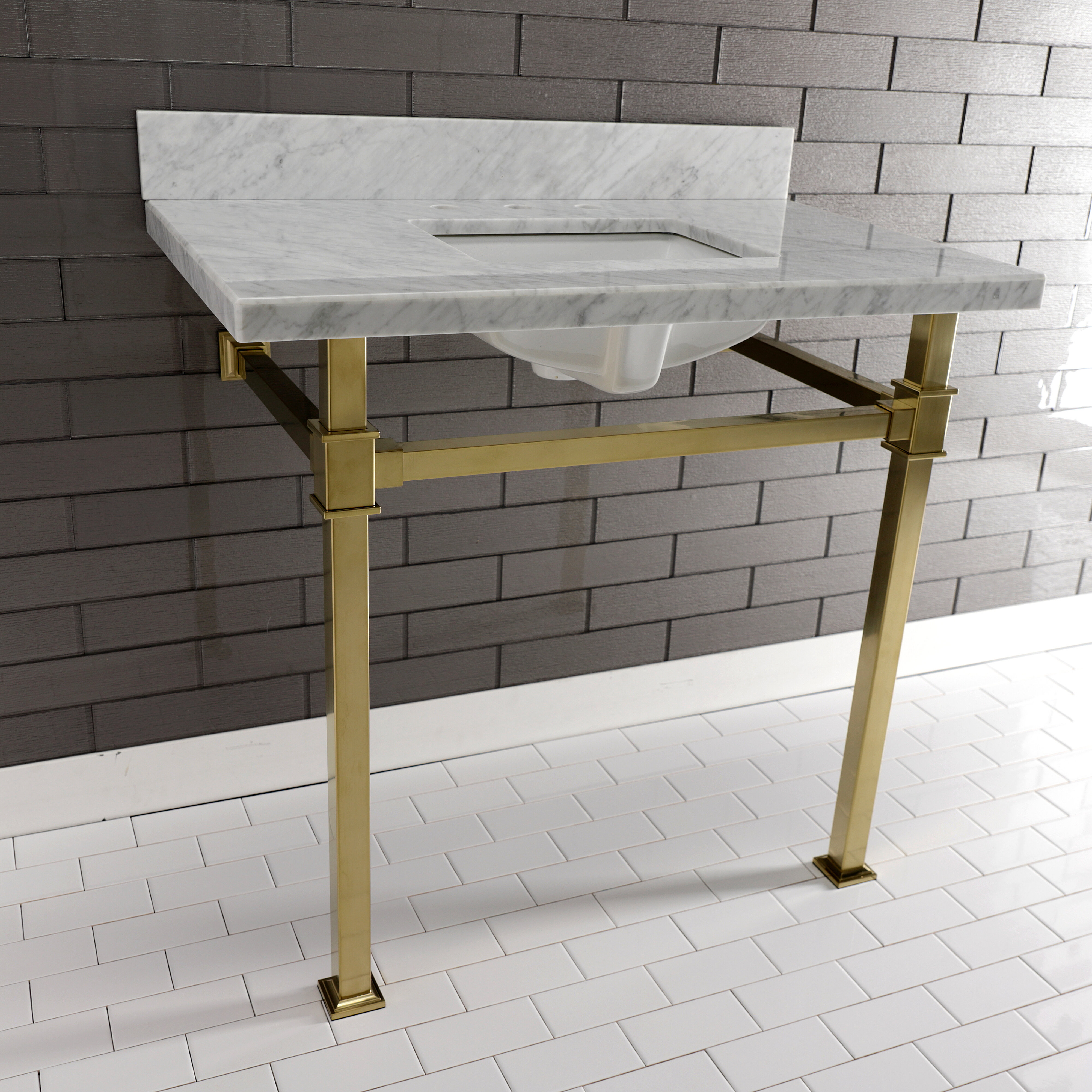 Kingston Brass Monarch Marble Rectangular Console Bathroom Sink With Overflow Wayfair
