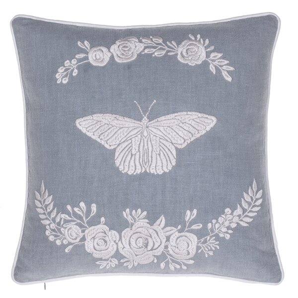 Blooming Butterfly Embroidered Throw Pillow by 14 Karat Home Inc.