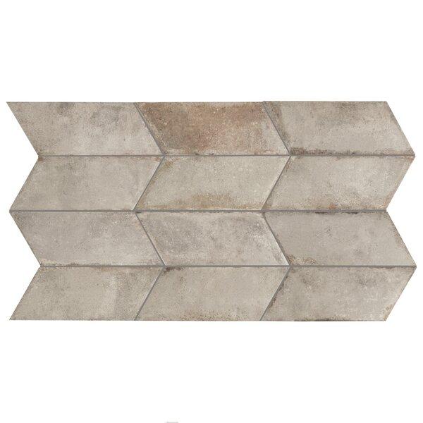 Relic Chevron Left 5.5 x 12.75 Porcelain Field Tile in Grigio by EliteTile