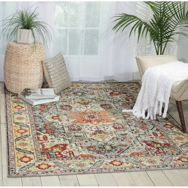 Dover Gray/Yellow/Orange Area Rug by World Menagerie