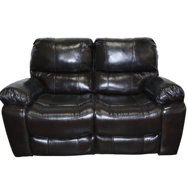 Rashida Modern Leather Reclining Loveseat by Red Barrel Studio