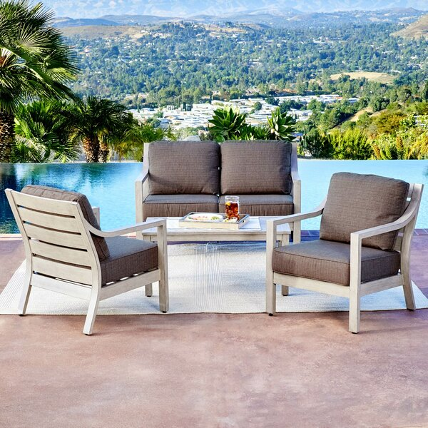 Corduff South Beach 4 Piece Conversation Set with Cushions by Foundry Select