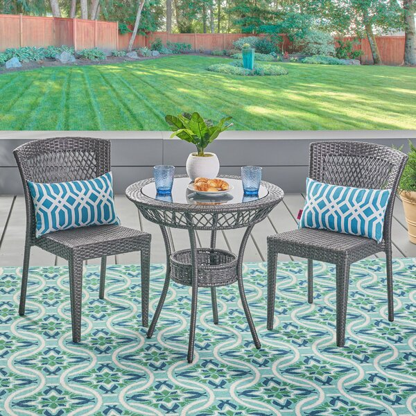 Ducote Outdoor 3 Piece Wicker Bistro Set by Ebern Designs