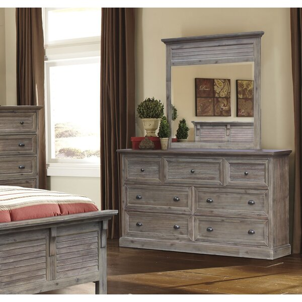 Lowenstein 7 Drawer Combo Dresser with Mirror by Rosecliff Heights