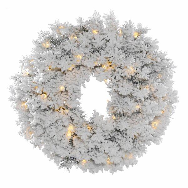 Flocked Lighted Wreath by Loon Peak