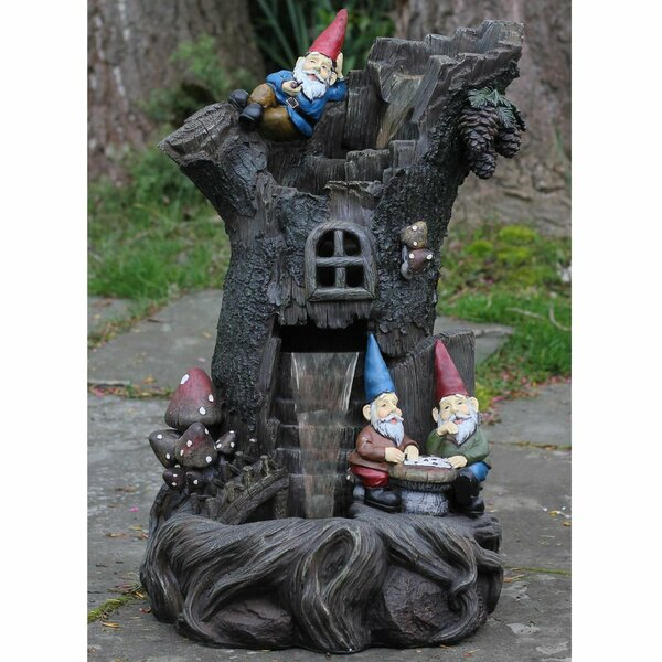 Polystone 3 Tier Gnome Home Tree Stump Outdoor Water Fountain by Northlight Seasonal