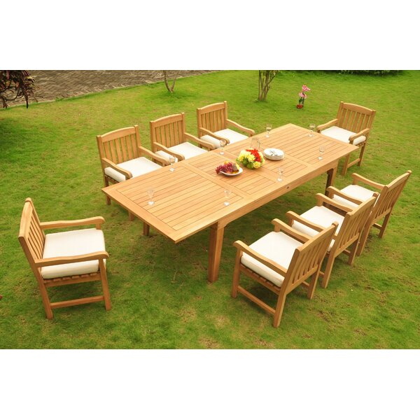 SantaClara Luxurious 9 Piece Teak Dining Set by Rosecliff Heights