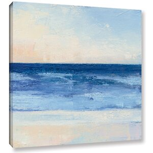 'True Blue Ocean II' Painting Print on Wrapped Canvas by Rosecliff Heights