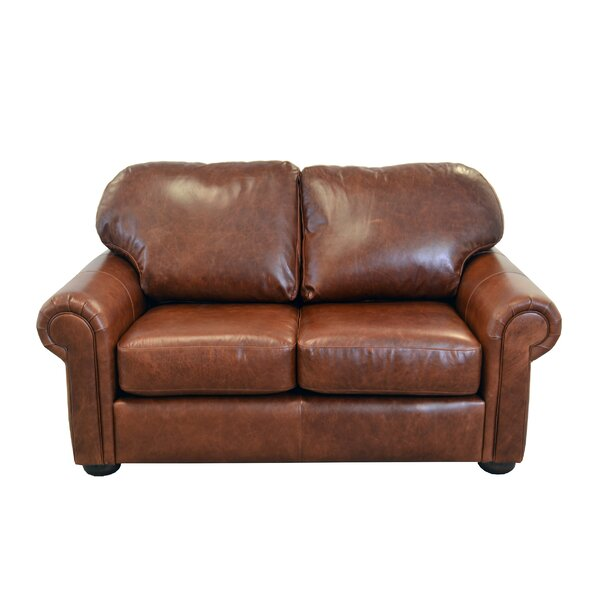 Heath Leather Loveseat by Westland and Birch Westland and Birch