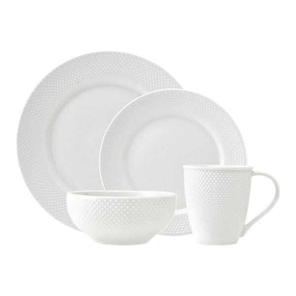 Pique 16 Piece Dinnerware Set, Service for 4 by Godinger Silver Art Co