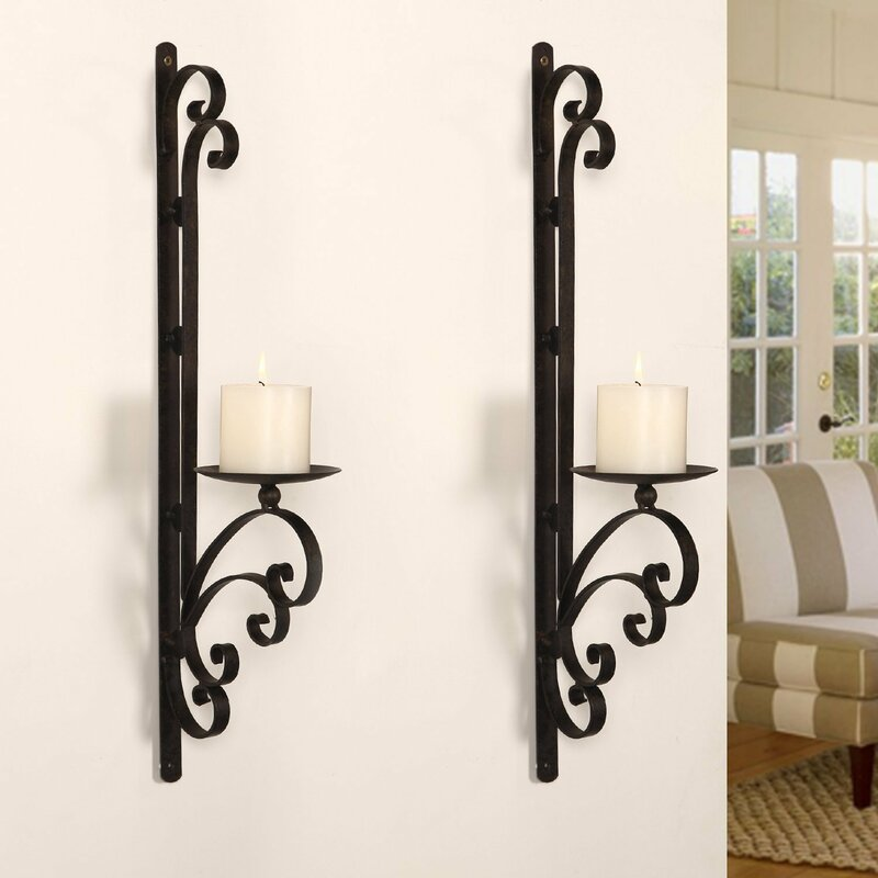 3 Dimensional Scroll Iron Wall Sconce Candle Holder