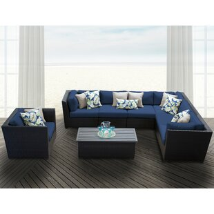 Barbados 8 Piece Rattan Sectional Set with Cushions byTK Classics