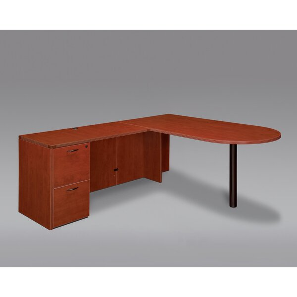 Fairplex Single Pedestal L-Shape Peninsula Executive Desk by Flexsteel Contract
