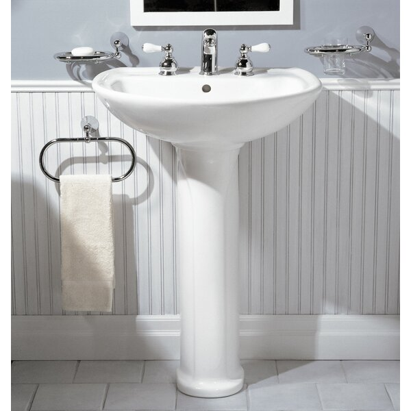 Cadet Ceramic 25 Pedestal Bathroom Sink with Overf