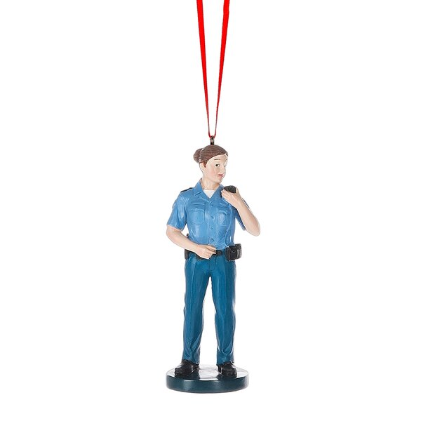 Police Woman Hanging Figurine By The Holiday Aisle.