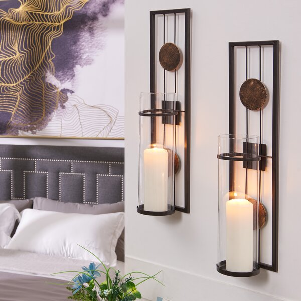 Floating Medallion Metal/Glass Sconce (Set of 2) by Winston Porter