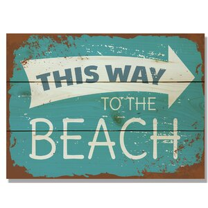 'This Way to the Beach' Textual Art on Wood by Daydream HQ