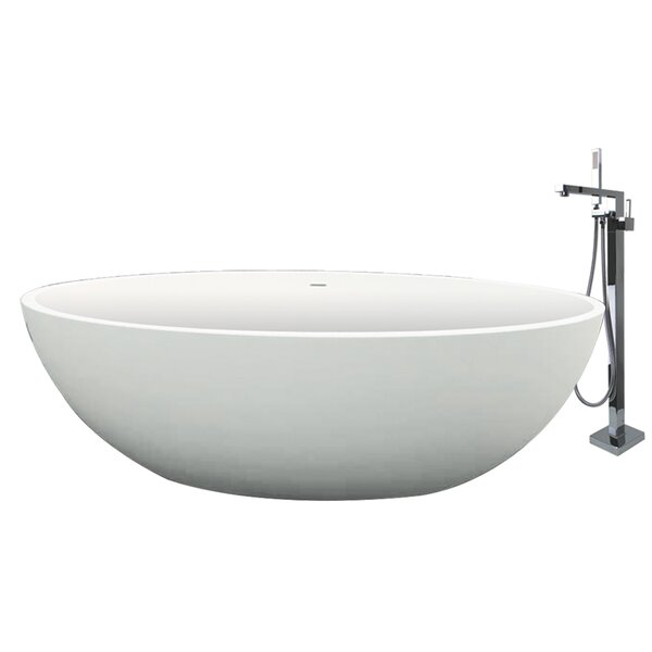 Sfera 66.54 x 36.42 Freestanding Soaking Bathtub by Transolid