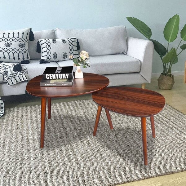 Braylee Solid Wood 3 Legs 2 Nesting Tables By George Oliver