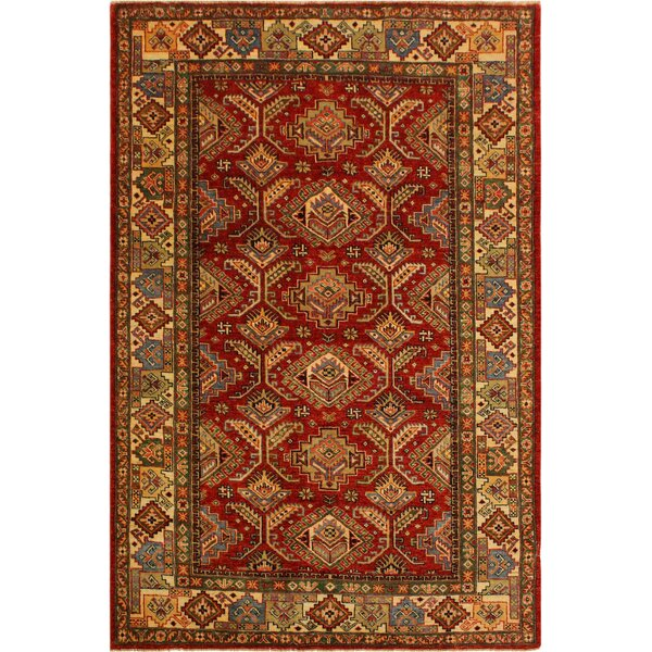 One-of-a-Kind Axel Super Kazak Hand-Knotted Wool Red/Ivory Area Rug by Astoria Grand
