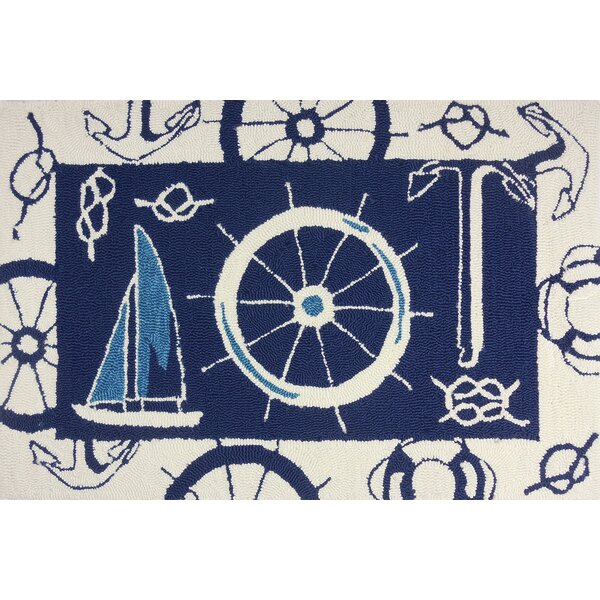Brownsville Nautical Blue/Beige Indoor/Outdoor Area Rug by Breakwater Bay