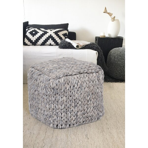SantaClara Handmade Square Wool Pouf by Bungalow Rose
